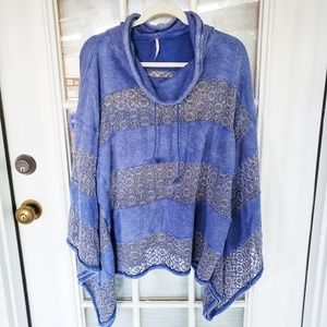 Free People Blue Sweater with Lace Panels